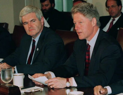 Image: Newt Gingrich and Bill Clinton in 1995