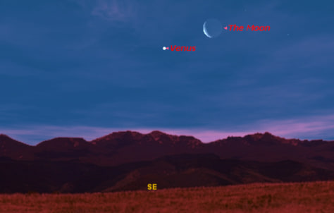 Image: Sky map of Venus and the moon