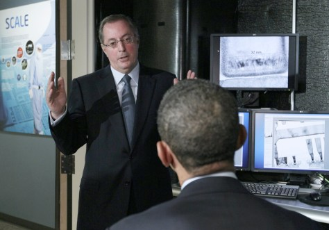 Image: US President Barack Obama listening to Intel CEO Paul Otellini