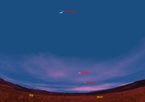 Image: Sky map of Jupiter, Mercury and the moon