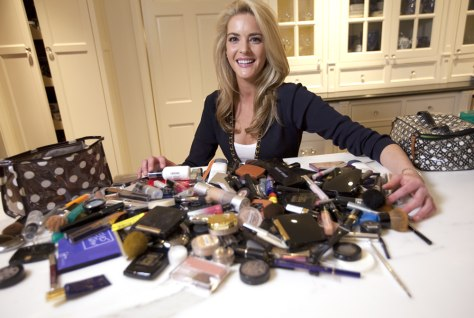 Image: Tracy Turnure, 24, poses with her make-up stash at her home in Seattle, Wa. on March 4.