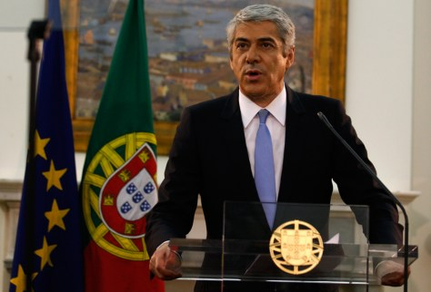 Image: Portuguese Prime Minister Jose Socrates announces his resignation at his official residence in Sao Bento in Lisbon