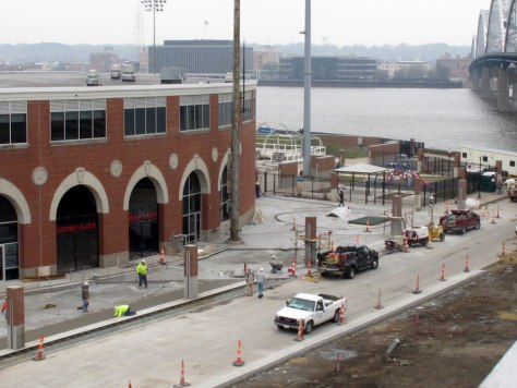 Image: Construction workers labor outside of Modern Woodmen Park in Davenport, Iowa