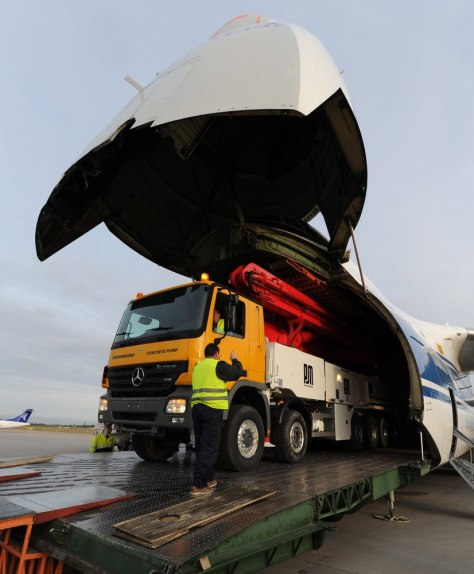 Image: Cement pump truck loaded onto cargo plane