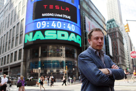 Image: CEO of Tesla Motors Elon Musk poses during a television interview after his company's initial public offering at the NASDAQ market in New York