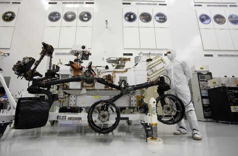 "Image: NASA mega-rover, ""Curiosity's"" wheels and suspension"