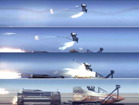 Image: High-speed shots of ejection seat igniting and parachute deploying