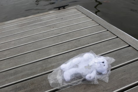 Image: A teddy bear wearing a cross is seen next to the boat ramp where a woman drove her minivan into the Hudson River in Newburgh, N.Y