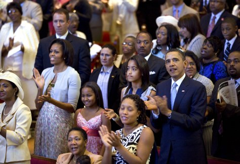 Image: President Barack Obama, First Lady Michelle Obama, and daughters Malia and Sasha attend Easter church service