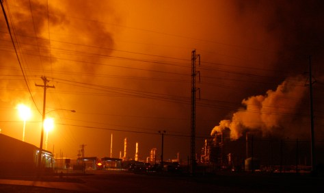 Image: Flares burn after power was lost at BP's Texas City, Texas refinery