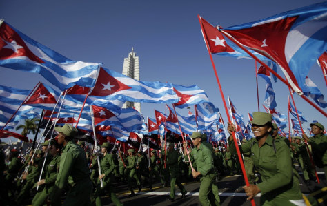 Image: Cubans soldiers march in Revolution Square in Havana, Cuba