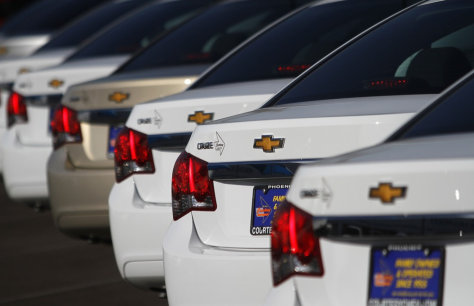 Image: Chevrolet Cruze vehicles are displayed at courtesy Chevrolet dealership in Phoenix