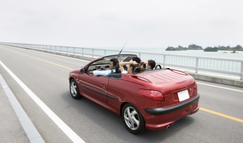 Image: Young people driving a convertible