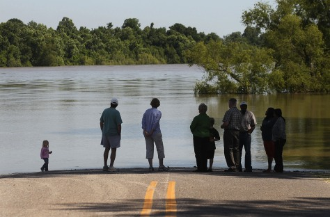 Image: The flooded Atchafalaya River during a mandatory evacuation on May 15, 2011 in Krotz Springs, Louisiana.