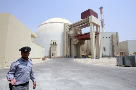 Image: A security official is shown at Iran's Bushehr main nuclear reactor
