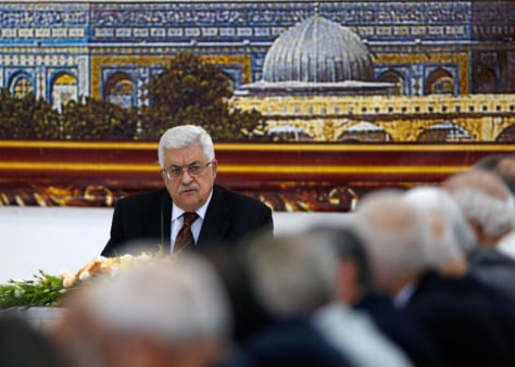 Image: Palestinian President Abbas attends a meeting of the PLO in Ramallah