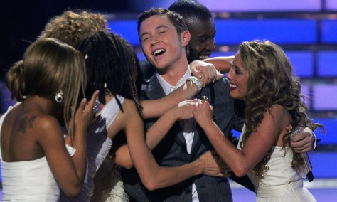 "Image: Scotty McCreery reacts after winning at the ""American Idol"" finale"