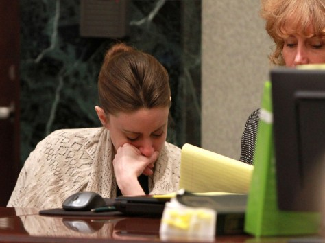 Image: Casey Anthony reacts during forensic testimony Friday at her murder trial at the Orange County Courthouse in Orlando, Fla.