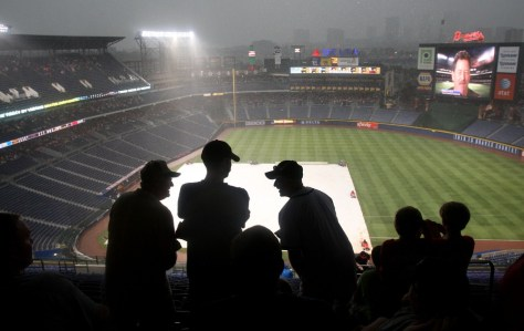 Image: Rain falls on Turner Field in Atlanta.