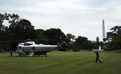 Image: Obama departs White House