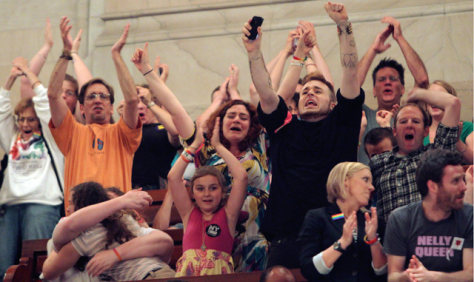 Image: People in the Senate gallery react to the passage of gay marriage at the Capitol in Albany, N.Y