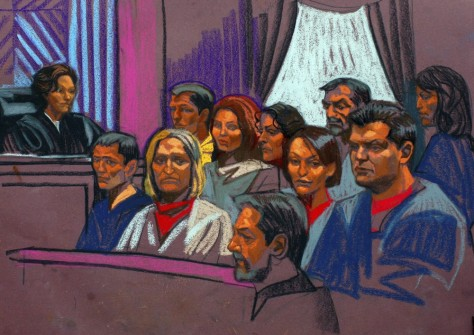 Image: Courtroom sketch of Russian spy suspects from July 2010