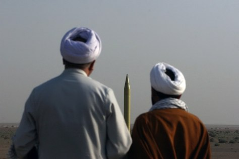 Image: Iranian clerics look at a Shahab-1 missile