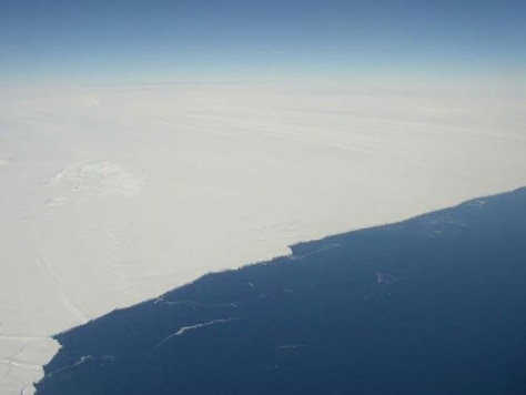 Image: A photograph of an Antarctic glacier.