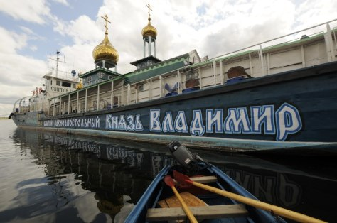 Image: Saint Vladimir floating Orthodox Christian temple is seen tied up at a mooring on the Volga river in the southern city of Volgograd