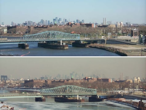 Image: NYC on clean and dirty air days