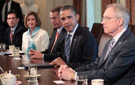Image: Barack Obama, John Boehner, Harry Reid, Eric Cantor
