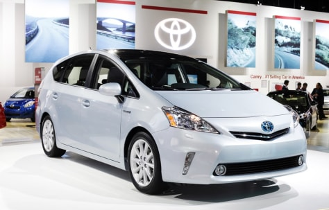 Image: The Toyota Prius V is on display during the press day for the North American International Auto show in Detroit