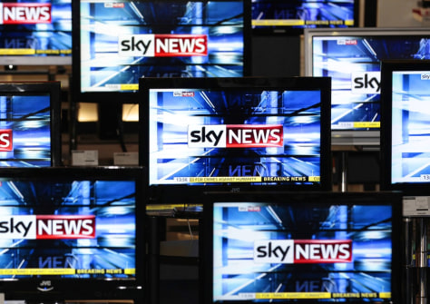 Image: File photo of Sky News logo seen on television screens in an electrical store in Edinburgh