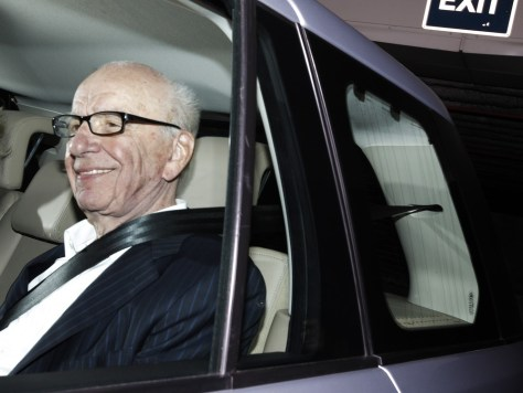 Image: News Corp chairman Rupert Murdoch leaves the offices of News International in London