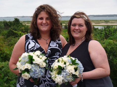 Image: Ashley Abraham-Hughes, left, and her wife, Corinne