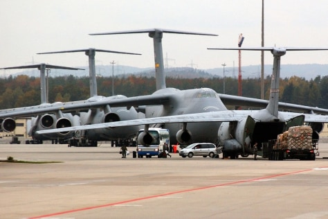 Image: C-5 Galaxy military transportation aircraft on the tarmac of the U.S. Airbase in Ramstein, Germany