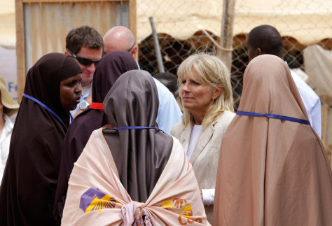Image: Dr. Jill Biden talks with female Somali volunteers in Kenya's Dadaab Refugee Camp