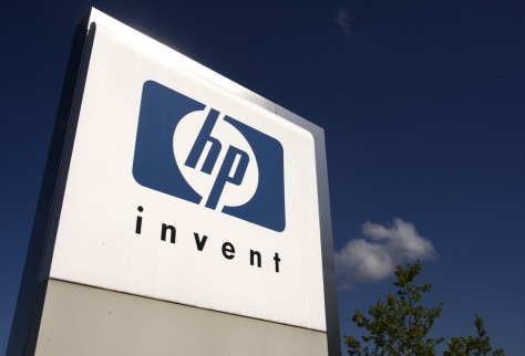 Image: File photograph of HP Invent logo pictured in front of Hewlett-Packard international offices in Meyrin near Geneva