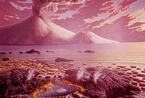 Image: Artist's illustration of early life on Earth