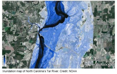 Image: Floodwater map of North Carolina's Tar River