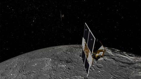 Image: Artist's concept of the two GRAIL spacecraft orbiting the moon