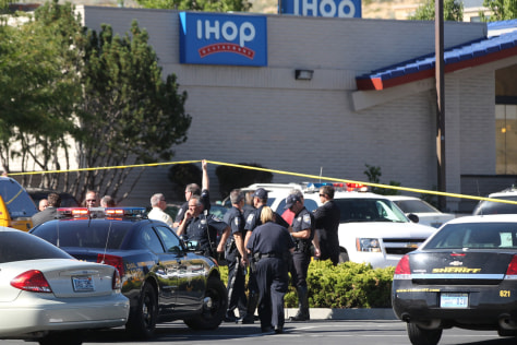 Image: Emergency personnel respond to a shooting at an IHOP restaurant