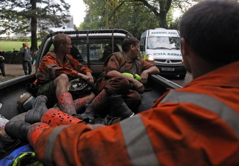 Image: Mine rescue workers in the Swansea Valley, Wales
