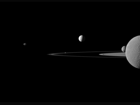 Image: Saturn's A and F rings and five of its moons