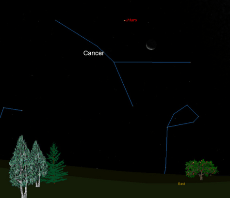 Image: Sky map of moon and Mars for Sept. 23, 2011