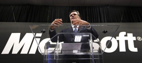 Image: Mitt Romney speaking at Microsoft