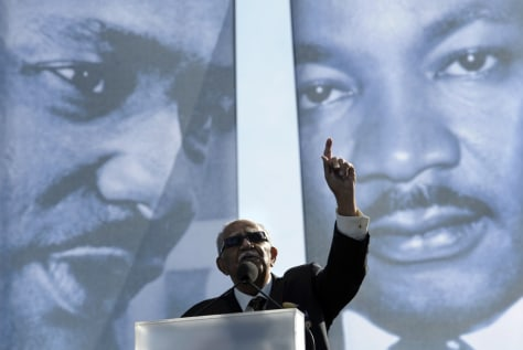 Image: Rev. Joe Lowrey, civil rights pioneer, speaks during the dedication of the Martin Luther King, Jr., Memorial