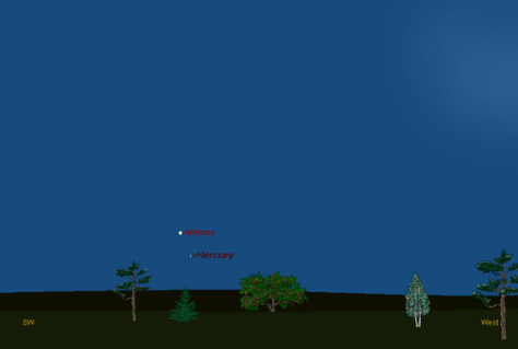 Image: Sky map of Venus and Mercury after sunset Oct. 24, 2011