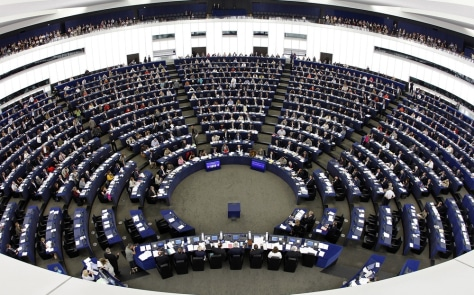 Image: Members of the European Parliament attend a voting session at in Strasbourg, France.