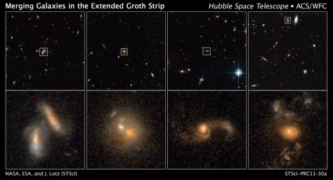 Image: Hubble Space Telescope, examples of interacting galaxies